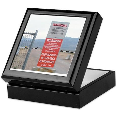 Back Gate Warning Sign Keepsake Box