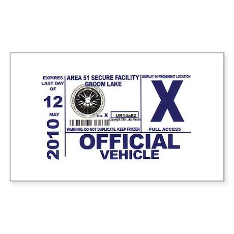 Area 51 Parking Pass Sticker (Rectangle)