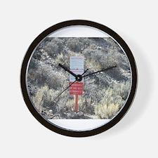 Old Warning Sign on Groom Lak Wall Clock