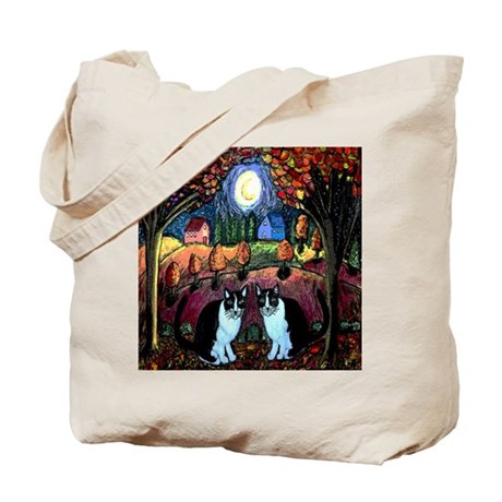 Two Cats And The Moon Tote Bag