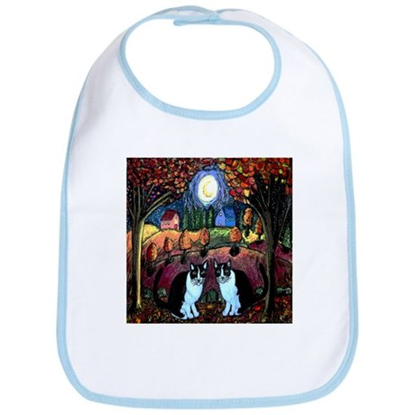 Two Cats And The Moon Bib