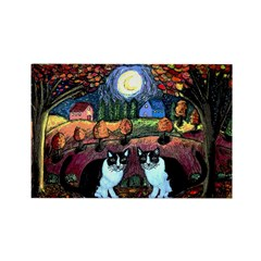 Two Cats And The Moon Rectangle Magnet (10 pack)