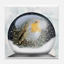 Funny Robin redbreast Tile Coaster