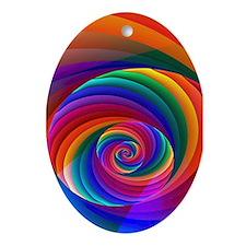 """Color 7"" Fractal Art Oval Ornament"