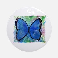 Blue Butterfly, Ornament (Round)