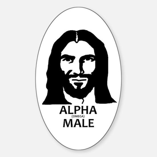 Jesus Alpha (Omega) Male Sticker (Oval)