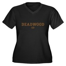 Deadwood Women's Plus Size V-Neck Dark T-Shirt
