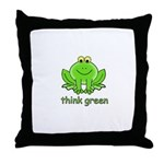 Think Green Frog Throw Pillow
