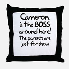 Cameron is the Boss Throw Pillow