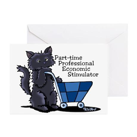 Black Cat Economic Stimulator Greeting Cards (Pk o