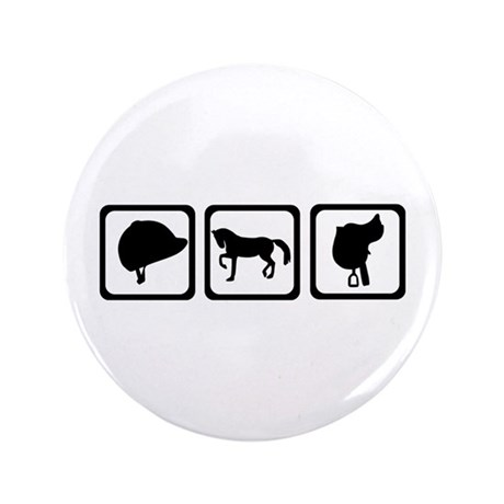 "Horse - riding 3.5"" Button (100 pack)"
