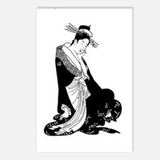 Geisha and rising sun inspired design Postcards (P