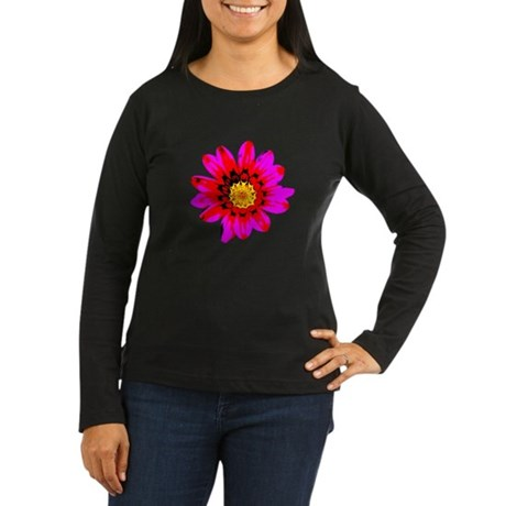 Pink Red Pop art Flower Women's Long Sleeve Dark T