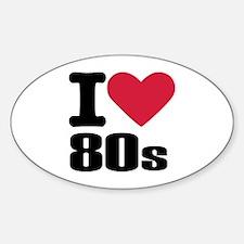 I love 80's Sticker (Oval)
