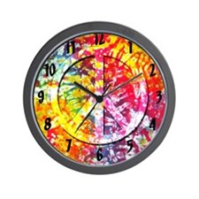 Tie Dyed Peace Wall Clock