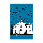 the birds Mini Poster Print (dark blue)
