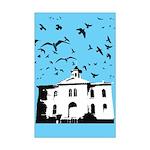 the birds Mini Poster Print (sky blue)