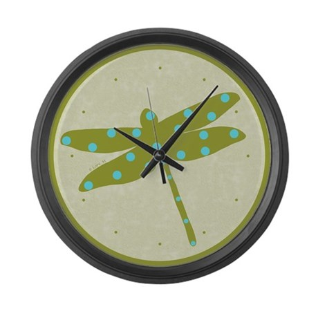 Green dragonfly and peas - Large Wall Clock