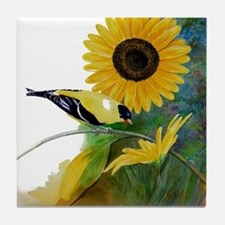 Goldfinch and Sunflower Tile Coaster