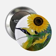 "Goldfinch and Sunflower 2.25"" Button"