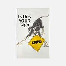 NMtl Stupid Sign Rectangle Magnet