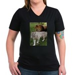 Cameron & Zabu Women's V-Neck Dark T-Shirt