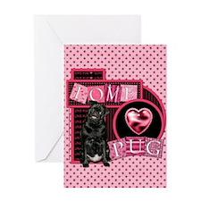 Love Pug Greeting Card
