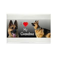 I love Grandma German Shepherd Rectangle Magnet