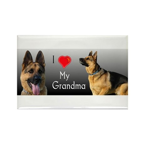 I love Grandma German Shepherd Rectangle Magnet