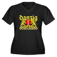 Cute Germania Women's Plus Size V-Neck Dark T-Shirt