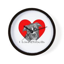 I Love Pitbulls Wall Clock