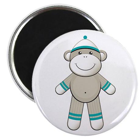 Aqua Sock Monkey Magnet