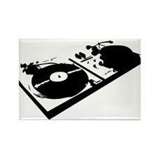 DJ Turn Tables Rectangle Magnet