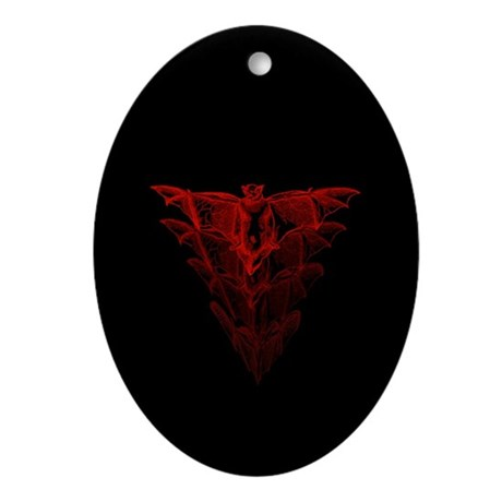 Bat Red Ornament (Oval)