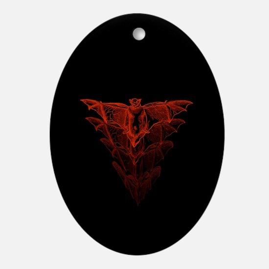 Bat Red Ornament (Oval)
