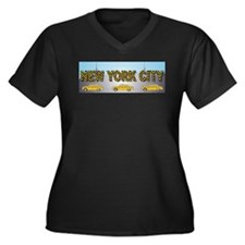 Unique New york streets Women's Plus Size V-Neck Dark T-Shirt