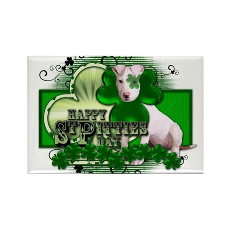 Happy St Pitties Day - Pitbul Rectangle Magnet (10