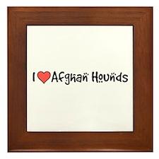 I heart Afghan Hounds Framed Tile