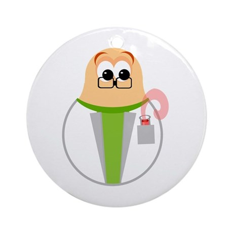 Fun Scientist Cartoon Ornament (Round)