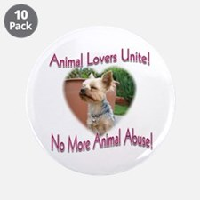 "Animal Lovers Unite! 3.5"" Button (10 pack)"