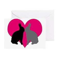 Cute Black rabbit Greeting Cards (Pk of 10)