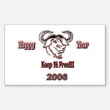 Happ GNU Year 2006 Rectangle Decal