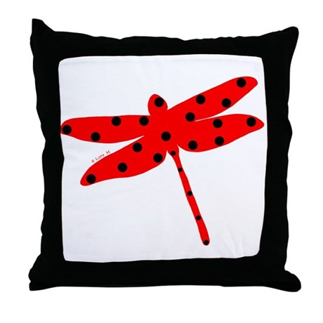 Flamenco red dragonfly Throw Pillow