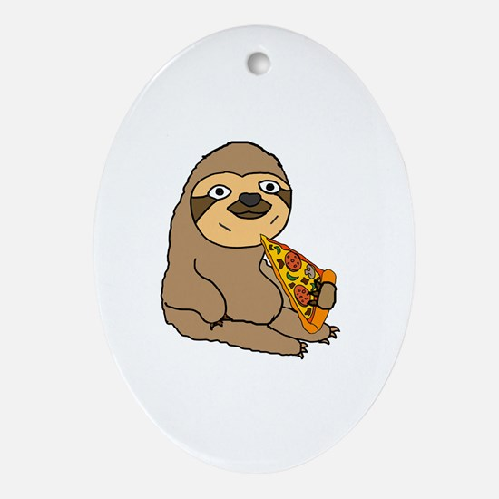 Funny Sloth Oval Ornament