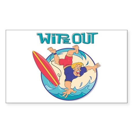 Wipe Out Surfer Rectangle Sticker