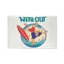 Wipe Out Surfer Rectangle Magnet
