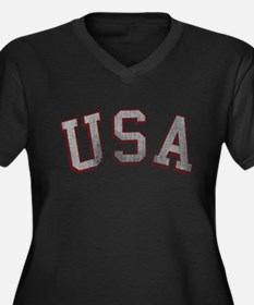 Vintage USA Women's Plus Size V-Neck Dark T-Shirt