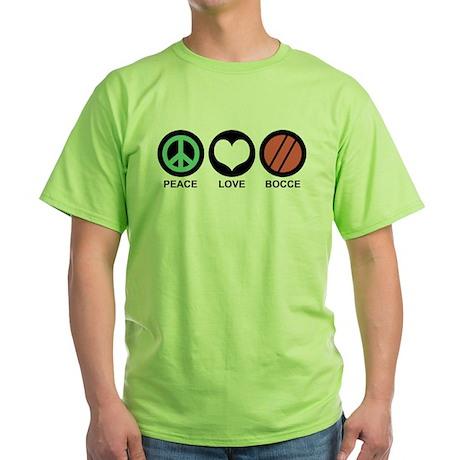 Peace Love Bocce Green T-Shirt