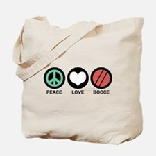 Peace Love Bocce Tote Bag