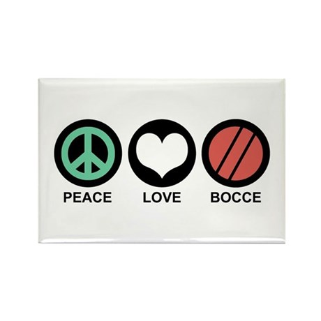 Peace Love Bocce Rectangle Magnet